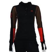 Lars Monsen Alta Bamboo Hoodie Women - Black/Brown/Orange